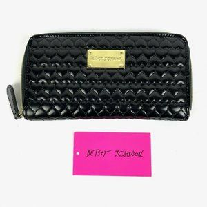 Betsey Johnson Wallet Black Patent Leather Hearts